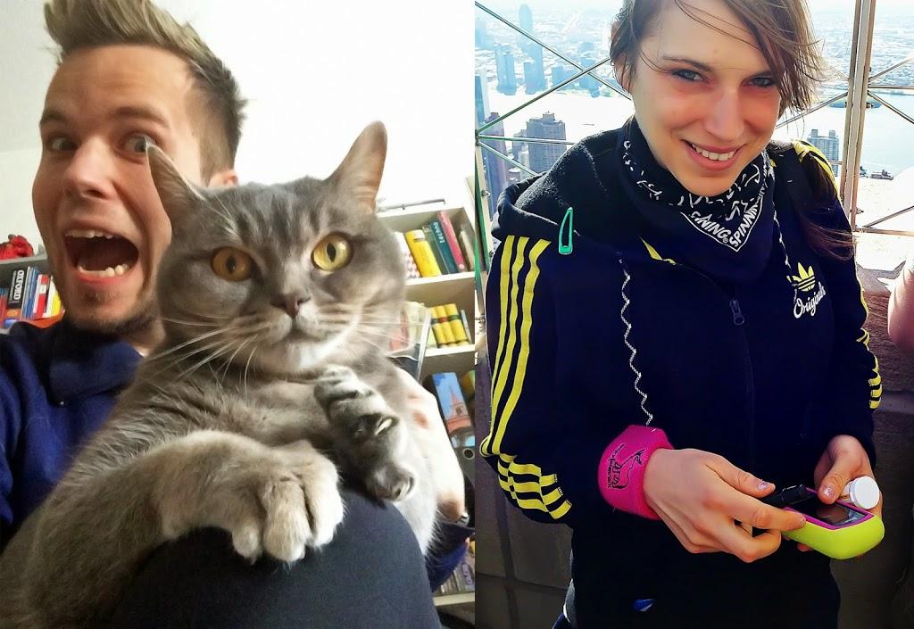 Meine verrückten Hypo-Helfer: Moppi und Miaule. Das da rechts bin ich: Blutzuckermessen auf dem Empire State Building