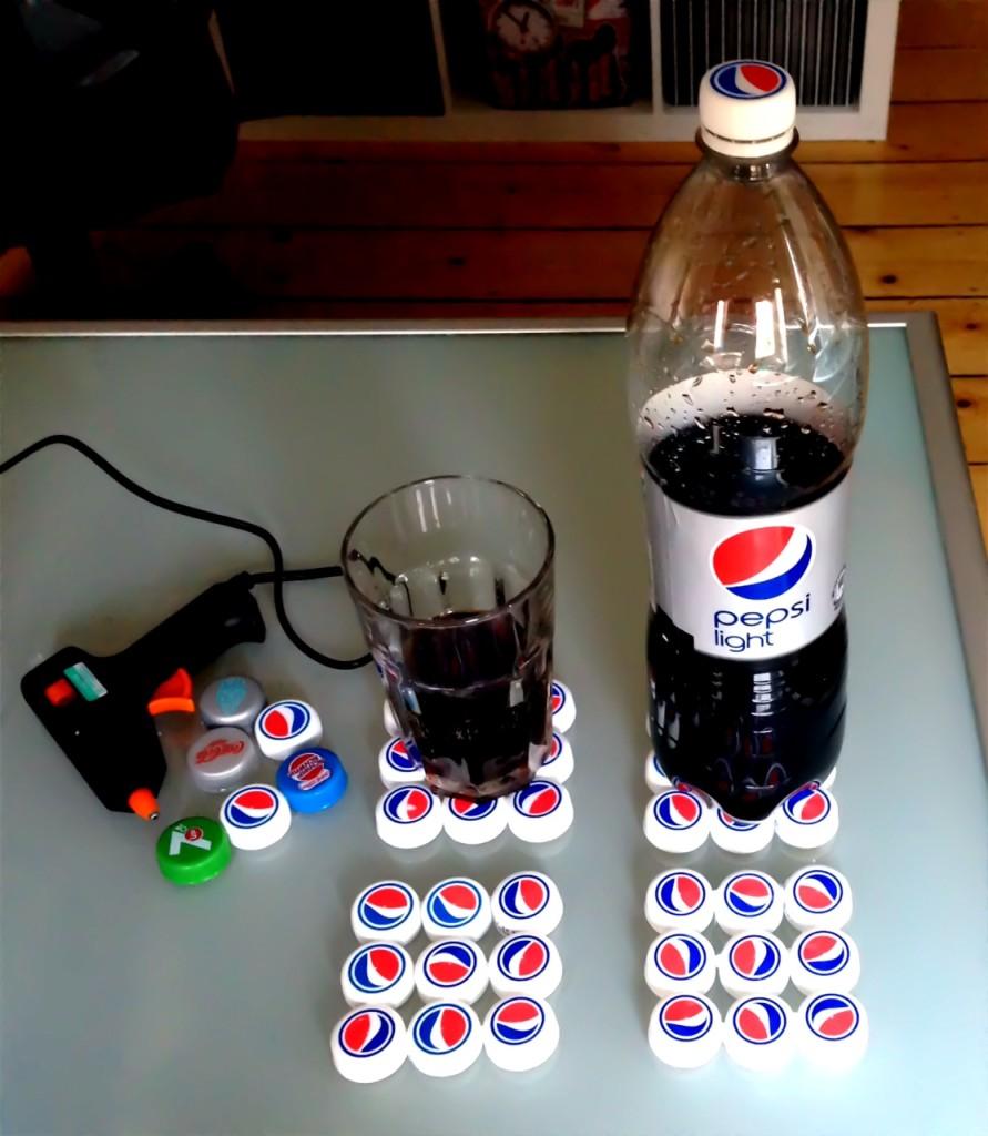 Untersetzer aus Flaschendeckeln