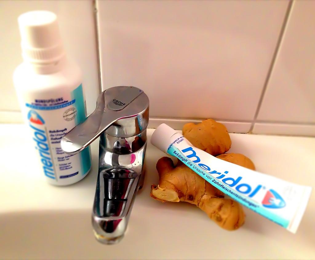 Bei Zahnfleischentzündungen hilft Meridol und Ingwer