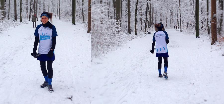 Laufen im Schnee mit HAJ-Botschafter-Shirt