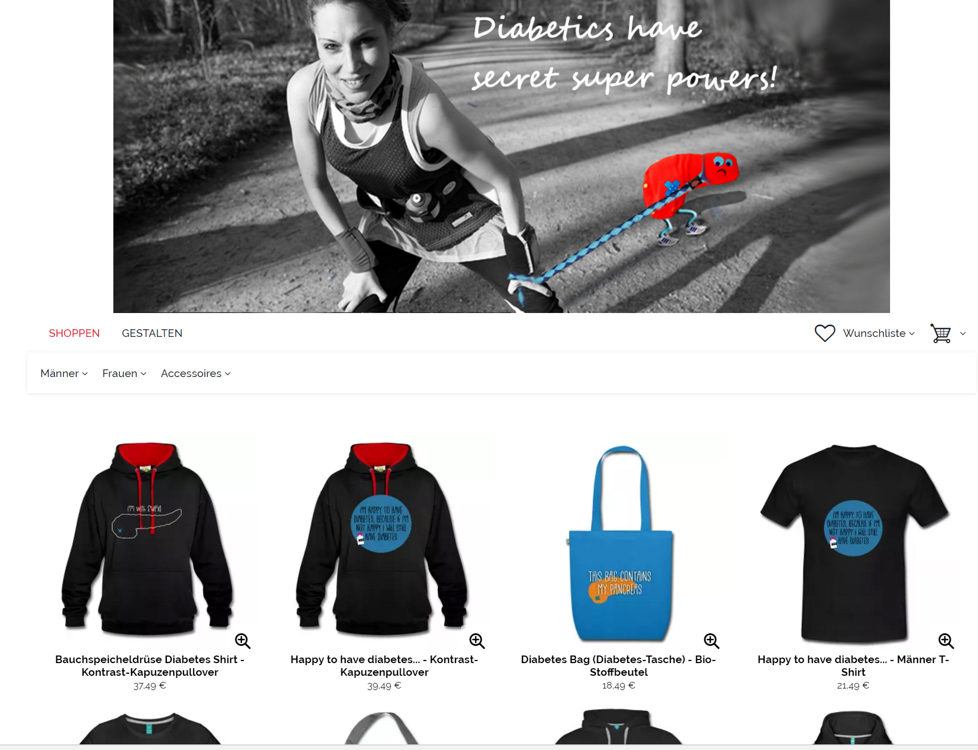 Spreadshirt Shop Diabetes-Leben