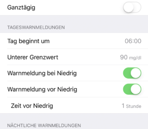 Einstellung Guardian Connect App Sport